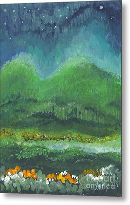Metal Print featuring the painting Mountains At Night by Holly Carmichael