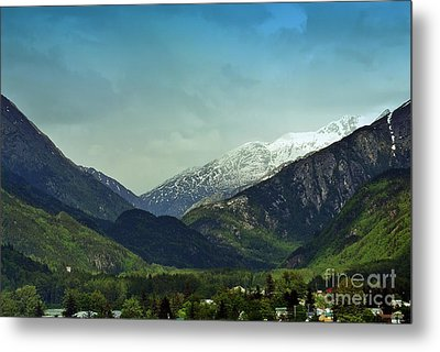 Mountains Beyond Skagway Metal Print by Gena Weiser