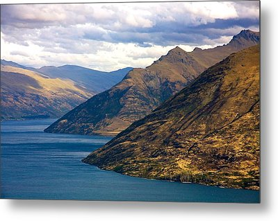 Mountains Meet Lake Metal Print by Stuart Litoff