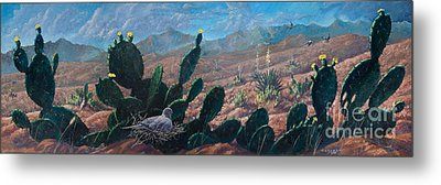 Metal Print featuring the painting Mourning Dove Desert Sands by Rob Corsetti