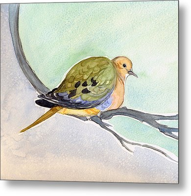 Metal Print featuring the painting Mourning Dove by Katherine Miller
