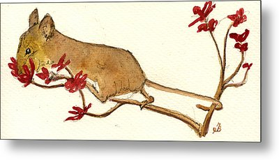 Mouse Flowers Metal Print