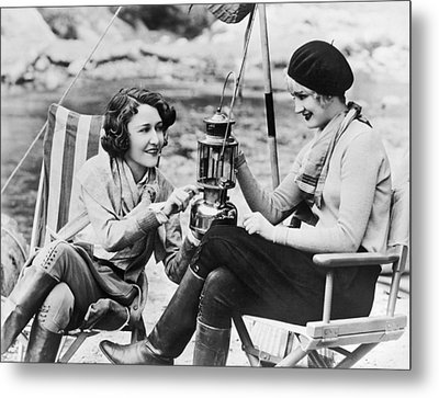 Movie Actresses Camping Metal Print by Underwood Archives