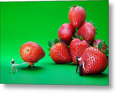 Metal Print featuring the photograph Moving Strawberries To Depict Friction Food Physics by Paul Ge