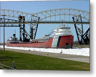 Moving Through The Ice To The Soo Locks Metal Print by Keith Stokes