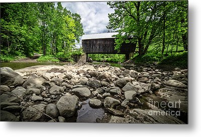 Moxley Covered Bridge Chelsea Vermont Metal Print by Edward Fielding