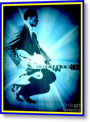 Mr Chuck Berry Blueberry Hill Style Edited Metal Print by Kelly Awad