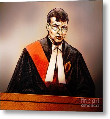 Metal Print featuring the painting Mr. Justice Mcmahon - Judge Of The Ontario Superior Court Of Justice by Alex Tavshunsky