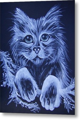 Mr. Kitty Metal Print by Leslie Manley