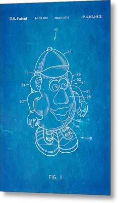 Mr Potato Head Patent Art 2001 Blueprint Metal Print by Ian Monk