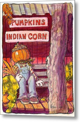 Mr. Pumpkin Metal Print by Victoria Lisi