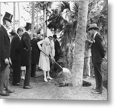 Mrs. Calvin Coolidge Planting Metal Print by Underwood Archives