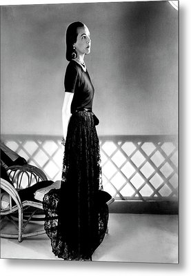 Mrs. Carroll Carstairs Wearing A Lace Skirt Metal Print by Horst P. Horst