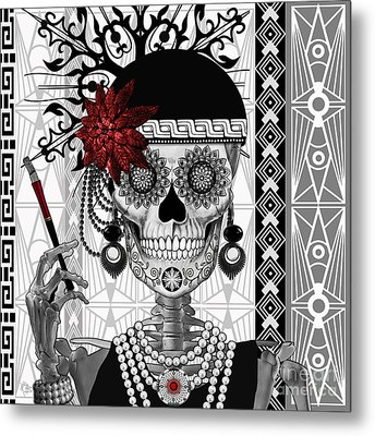 Mrs. Gloria Vanderbone - Day Of The Dead 1920's Flapper Girl Sugar Skull - Copyrighted Metal Print