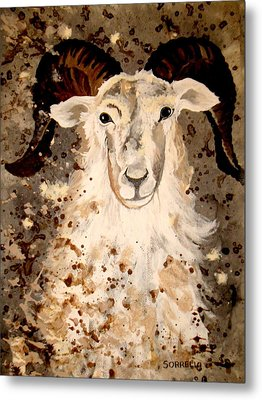 Metal Print featuring the painting Powell Mountain Goat by Amy Sorrell