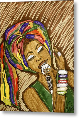 Metal Print featuring the drawing Ms. Badu by Chrissy  Pena