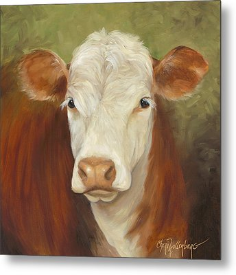 Metal Print featuring the painting Ms Sophie - Cow Painting by Cheri Wollenberg