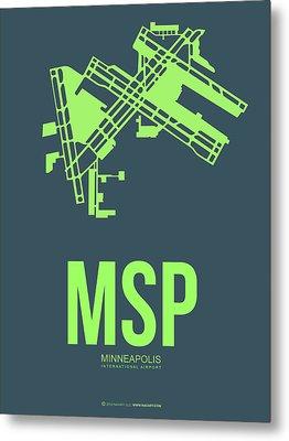Msp Minneapolis Airport Poster 2 Metal Print by Naxart Studio