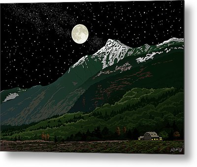 Mt Cheam In Moonlight Metal Print by Artellus Artworks