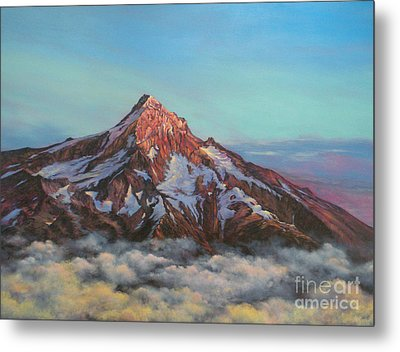 Metal Print featuring the painting Mt Hood North Face by Jeanette French