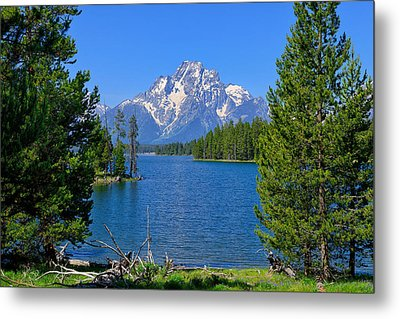 Mt Moran At Half Moon Bay Metal Print by Greg Norrell