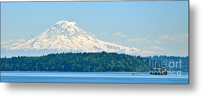 Mt Rainier From The Sound Metal Print