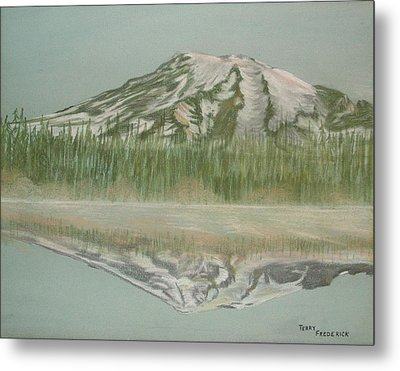 Metal Print featuring the pastel Mt Rainier by Terry Frederick