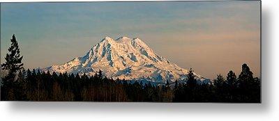 Mt Rainier Winter Panorama Metal Print