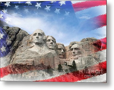Mt Rushmore Flag Frame Metal Print
