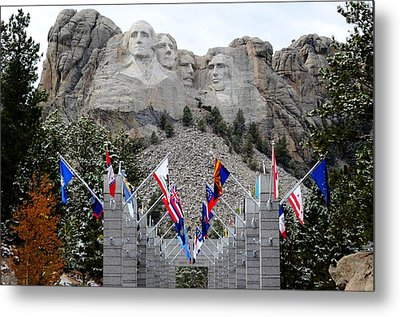 Mount Rushmore Flagway  Metal Print by Clarice  Lakota