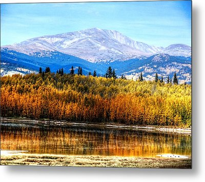 Mt. Silverheels With Aspens Metal Print by Lanita Williams