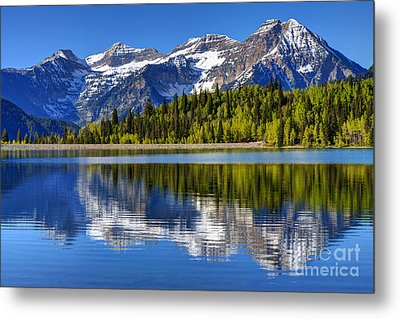 Mt. Timpanogos Reflected In Silver Flat Reservoir - Utah Metal Print by Gary Whitton