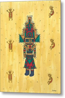 Metal Print featuring the painting Mudhead Kachina Doll by Susie Weber