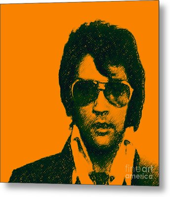 Mugshot Elvis Presley Square Metal Print by Wingsdomain Art and Photography