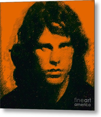 Mugshot Jim Morrison Square Metal Print by Wingsdomain Art and Photography