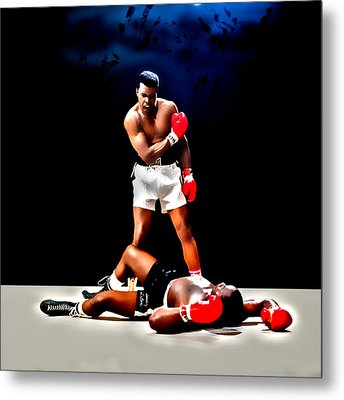 Muhammad Ali Get Up And Fight Sucker Metal Print