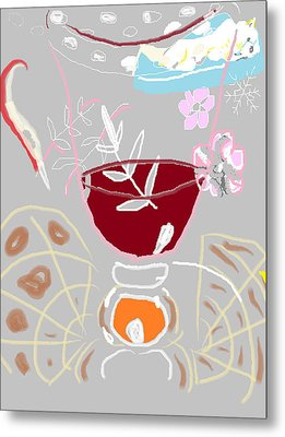 Metal Print featuring the painting Muji With Wine Glass by Anita Dale Livaditis