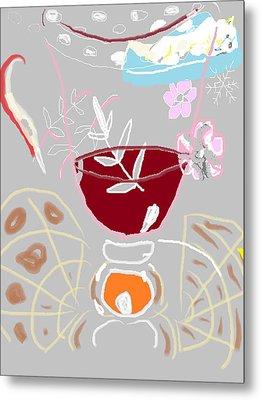 Muji With Wine Glass Metal Print