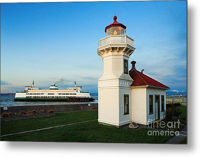 Mukilteo Ferry And Lighthouse Metal Print by Inge Johnsson