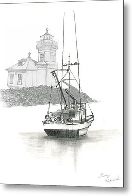 Metal Print featuring the drawing Mukilteo Lighthouse by Terry Frederick