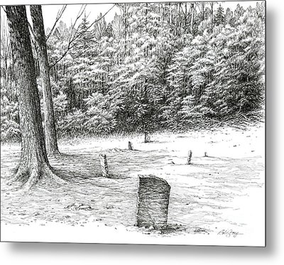 Metal Print featuring the drawing Mullin's Cemetery by Bob  George