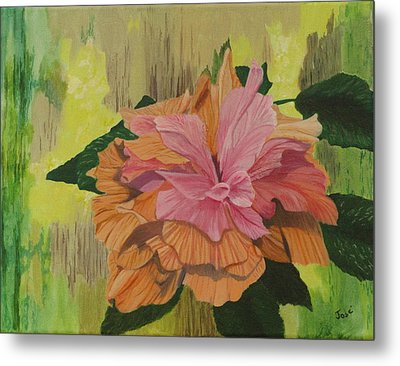 Metal Print featuring the painting Multi-petaled Pink Peach Hibiscus by Hilda and Jose Garrancho
