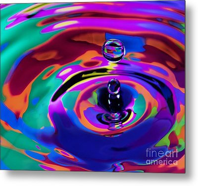 Multicolor Water Droplets 1 Metal Print by Imani  Morales