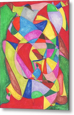 Multicolored Maze Metal Print by Ellen Howell