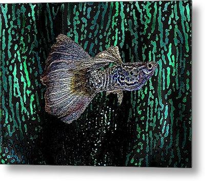 Multicolored Tropical Fish In Digital Art Metal Print by Mario Perez