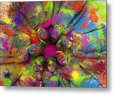 Multicoloured Boys Metal Print by Tim Gainey