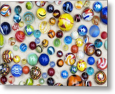 Multicoloured Marbles Metal Print