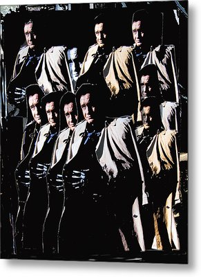 Metal Print featuring the photograph Multiple Johnny Cash In Trench Coat 1 by David Lee Guss