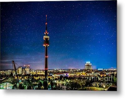 Munich City Nights - Olympiapark Metal Print by Hannes Cmarits