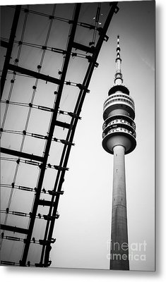 Munich - Olympiaturm And The Roof - Bw Metal Print